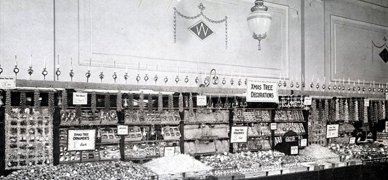 Christmas Decorations on display in the Liverpool Woolworths in 1928.  The display was set up early, photographed and copies sent to all of the other stores, who were instructed to follow the layout