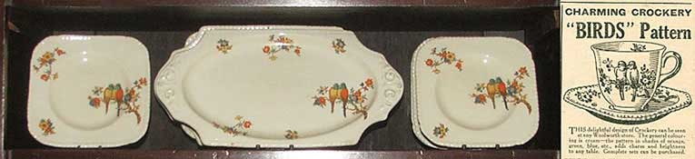 Birds Pattern china was particularly popular in the 1930s, particularly for picnics and afternoon tea