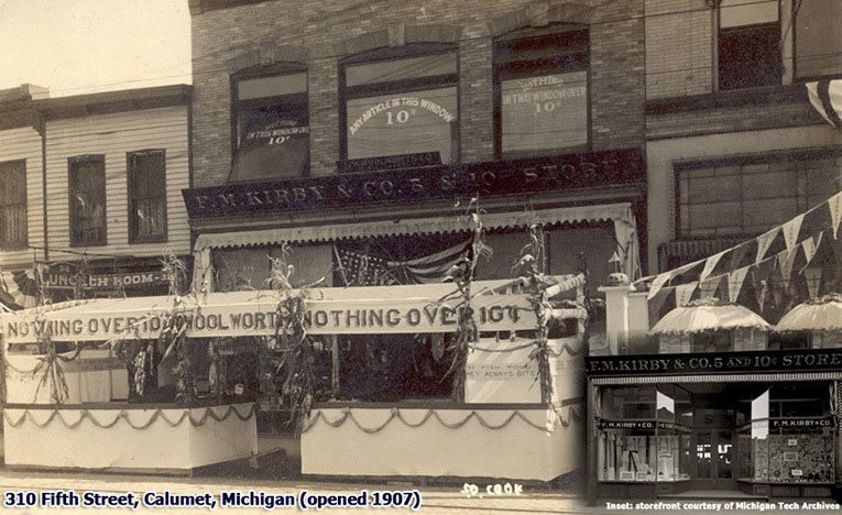 Kirby was a showman to rival the spectacular Frank W. Woolworth himself, pulling a number of stunts to attract trade to his stores, particularly when they were confronted by tough competition. This elaborate awning and display on the pavement was officially to launch his new line in fishing tackle to the public of Calumet, Michigan, with the slogan 'they're guaranteed to bite'. He didn't only mean the fish!