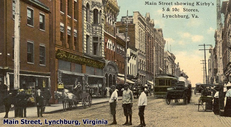 The F.M. Kirby Five and Ten Cent Store in Lynchburg, Virginia, pictured in around 1905. The chain's rapid expansion and huge queues on Saturdays had made them quite a phonemenon, to the point where independent producers published picture cards that highlighted them by name.