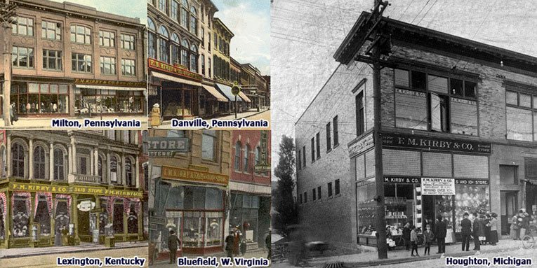 The growing chain of F. M. Kirby stores brought consistency of styling and operation to many Main Streets long before this was the established practice across the retail trade. Top row (l to r) the Milton and Danville stores (Pennsylvania), bottom row: Lexington (Kentucky), Bluefield (West Virginia) and Houghton (Michigan)