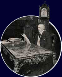 Frank Woolworth sits at his desk in the Empire Room at the top of the Woolworth Building.  (Image: Hearst's Magazine, October 1912)