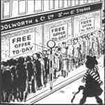 Sixpenny pops - sale on at Woolworths in the 1920s