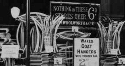 Making the product the star.  Everyday items were used to create spectacular window displays like this show of hangers in the Church Street, Liverpool Woolworths in 1930.