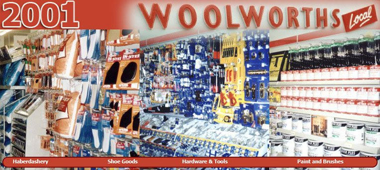 Haberdashery, Shoe Goods, Hardware and Tools and Paint and Brushes - all mainstays of the Woolworths range throughout the Kingfisher years.  Customers understood the firm's range of essentials and largely knew what to expect when they visited a High Street store.