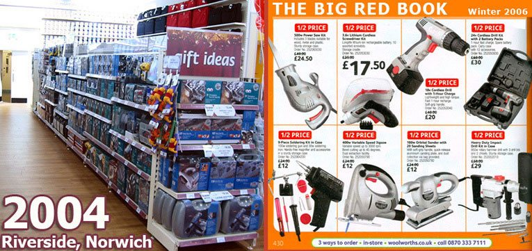 Left: the large range of DIY in the out-of-town Woolworths store on the Riverside at Norwich, pictured in 2004. Right: An extract from the firm's new Big Red Book catalogue, showcasing their own label power tools, which were sold with the brand name 'Woolworths Workshop'