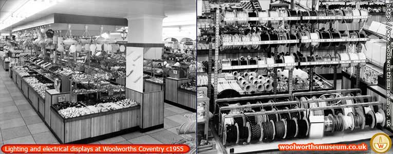 Electrical displays at F.W. Woolworth Broadgate, Coventry, 1955. Left: The lighting canopy, Right: Electric Flex dispenser