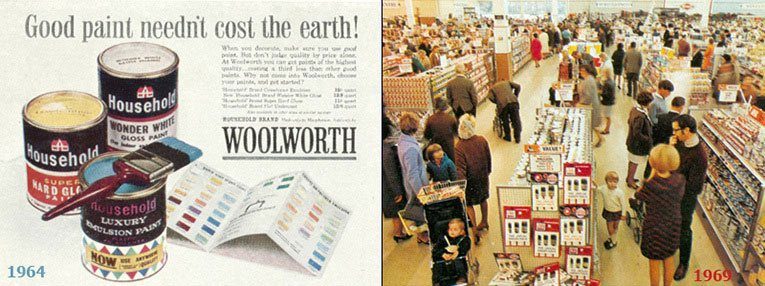 Left: Household Paint became the UK market leading brand in the 1960s, thanks to an effective marketing campaign. Right: DIY displays in the Woolco store in Bournemouth, Dorset