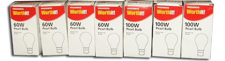 Small 60watt incandescent lightbulbs for 20p were one of the best sellers in the Woolworths WorthIt! range when it was introduced in 2006