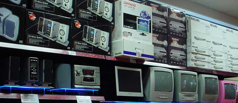 High-priced gadgets on sale at the Harlow, Essex store at Christmas, 2004