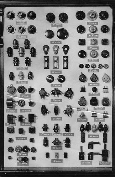Some of the wide selection bakelite electrical fittings offered in Woolworth stores in 1936. Click the image for a larger version in a new browser window, courtesy of the Woolworths Museum