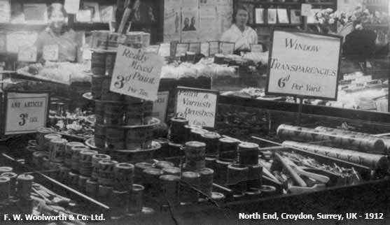 Ready-mixed paint, varnish and brushes all feature in this, the earliest surviving picture of the interior of a British Woolworths store, believed to be North End, Croydon, Surrey in 1912