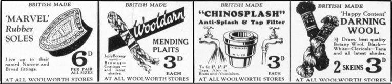A selection of home repair items from an advertisement for Woolworths in the London edition of the Daily Mail in 1932