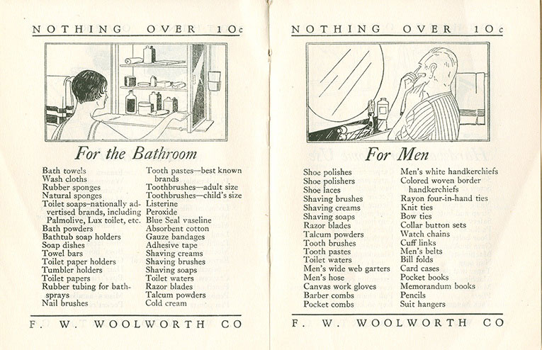 For the bathroom, and for me, example  pages from the original Woolworth home shopping brochure from 1929