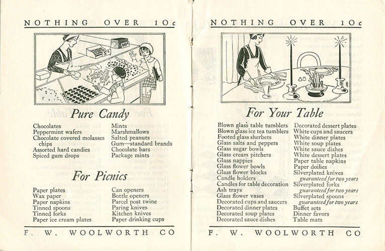 Pure Candy (Pic'n'Mix) and For Your Table - a double-age spread from the original Woolworths 'big books', dating from 1929