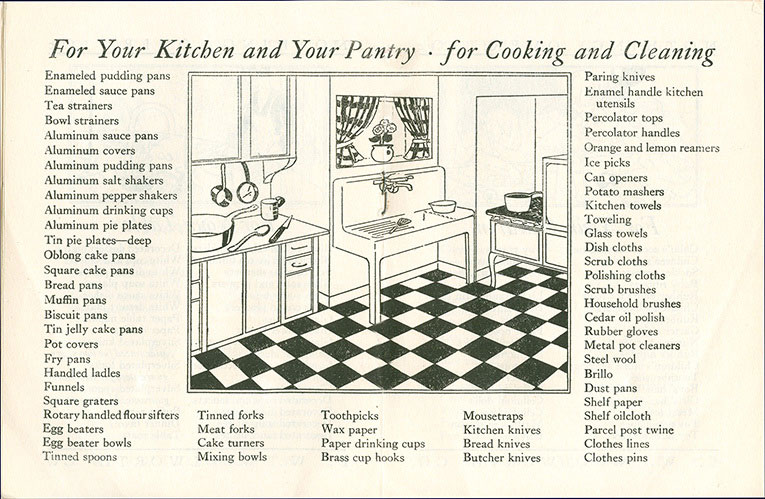 For your kitchen and for your pantry, everything you need for Clooking and Cleaning is featured in the Woolworths Home Shopping Guide booklet from 1929