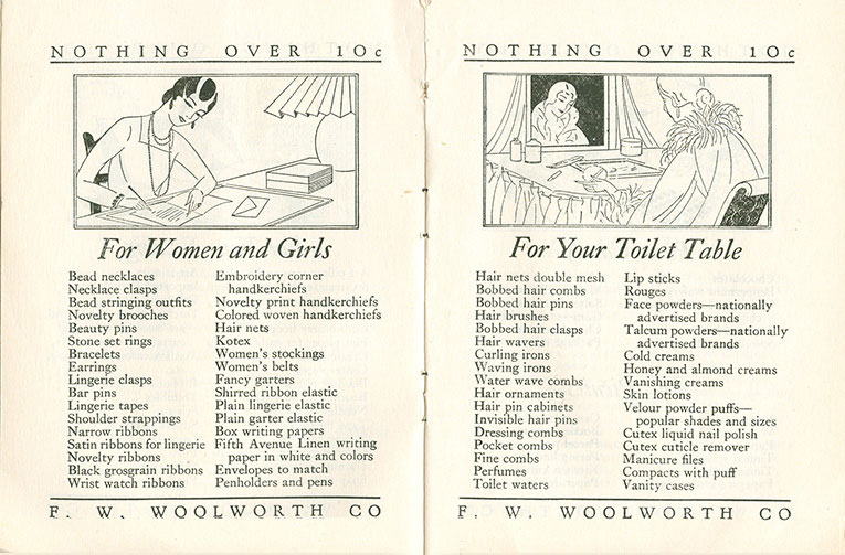 For women and girls and for your toilet table, two features from the original Woolworth Home Shopping Guide booklet from 1929