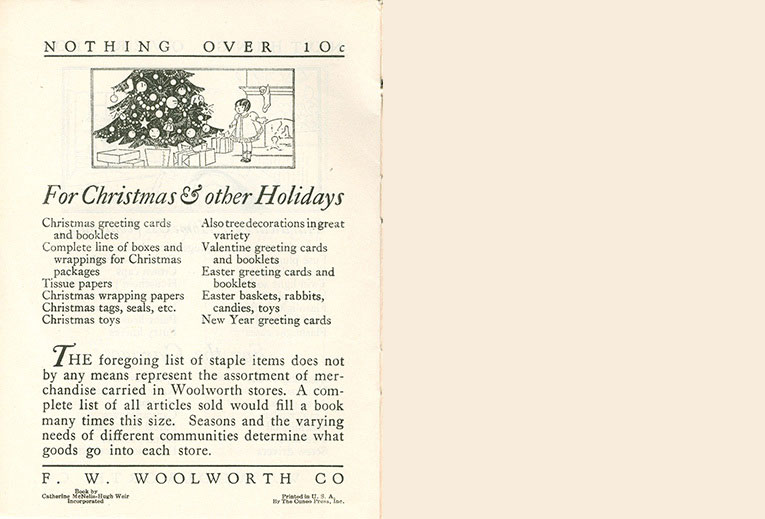 Christmas and other holidays pages from the original Woolworth home shopping brochure from 1929