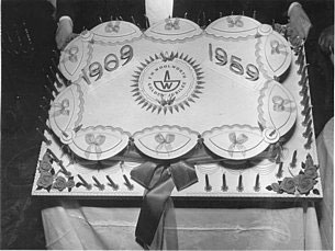 A huge cake was baked to celebrate F.W. Woolworth's 50th birthday in the UK in 1959.