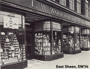The curved windows and glass globe lighting of British F. W. Woolworth stores looked increasingly dated through the late 1950s and early 1960s.