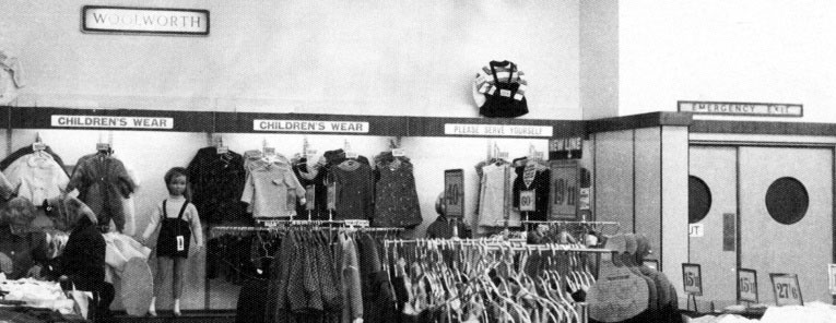 Fashion display at Woolworths, Above Bar, Southampton in 1952. The store was a prototype for the rest of the thousand-strong chain of shops