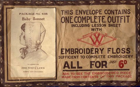 A complete Woolworths Baby Bonnet in kit form, sold for sixpence in the High Street stores between 1909 and 1919