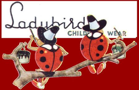 Two Ladybirds paint a shop sign. Drawn by Con H. Lomax of Pasold Ltd.