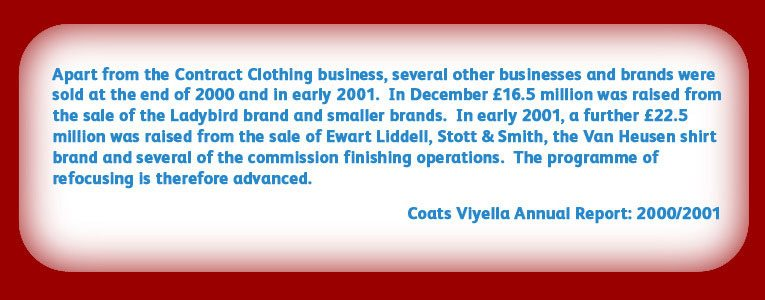 From the Annual Report of Coats Viyella plc (now Coats PLC).  © Copyright Coats Viyella PLC MMI, All Rights Reserved.