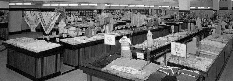 The large fashion department in the F. W. Woolworth store in Commercial Road, Portsmouth, Hampshire, photographed in 1953