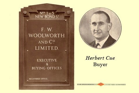The name plate from the Woolworths headquarters in New Bond Street, London W1 in the 1930s, along with Herbert Cue, the Buyer who built the firm's relationship with Pasolds, the supplier behind the world-famous Ladybird brand