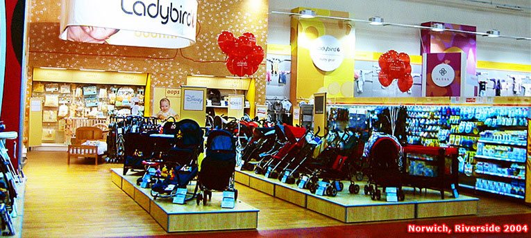 A new range of Ladybird accessories proved very popular at the Norwich out-of-town Woolworths in 2004. The picture shows just one quarter of the display space allocated to children's clothing in the 50,000 square foot store.