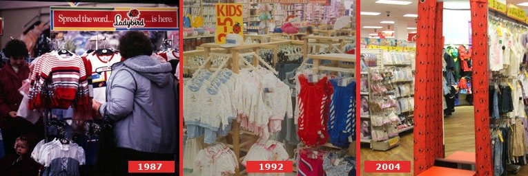 A passion for fashion in the High Street - displays of Ladybird clothes at Woolworths - left 1987 Reading, Berks, Centre 1992 Staines, Middx and right 2004 Peckham, London SE15, the hundredth store to receive a full refurbishment between 2002 and 2004