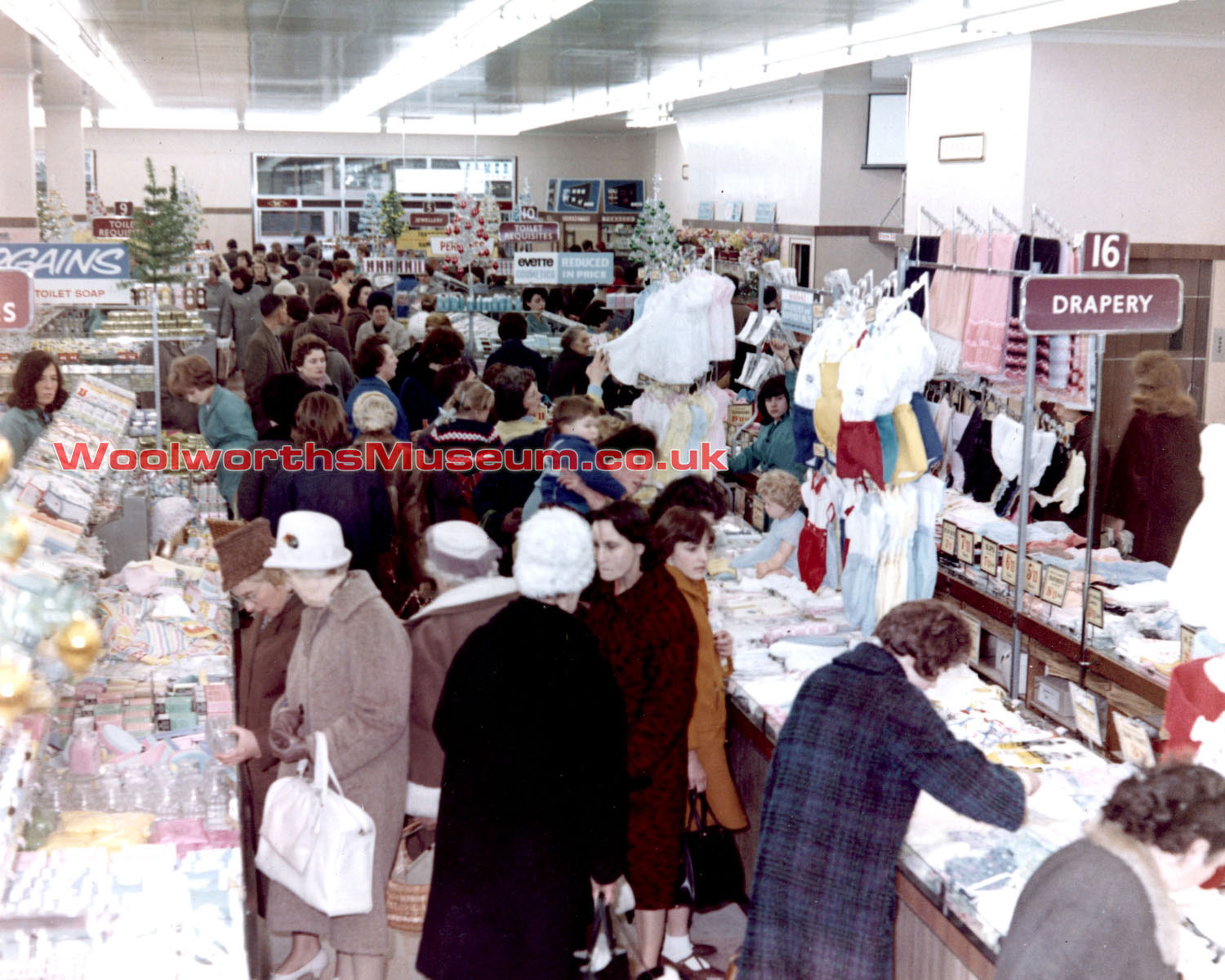 Brightly coloured fashion displays at the Shrewsbury branch of Woolworths in 1965. Click the picture for a larger full colour view of the salesfloor in a new window.