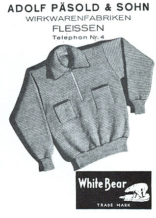 An early 20th century advertisement for Pasold garments which at the time were sold under the original White Bear brand