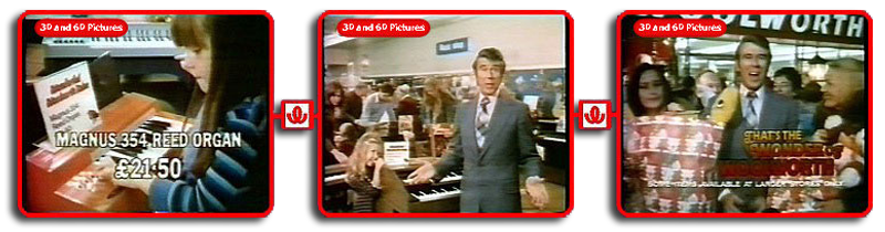 Legendary comedian Leslie Crowther hosted one of the first Wonder of Woolworth adverts for Magnus Organs in 1975.  At the keyboard is Nicola Greenwood, a young customer