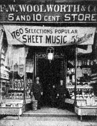 Woolworth stores started to sell sheet music in the USA in 1895.  The store pictured is in Utica, New York