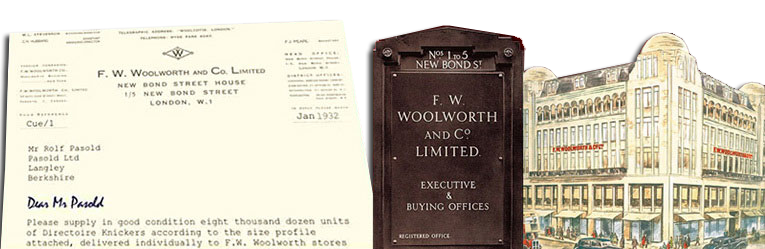 A facsimile of the first ever order raised by F. W. Woolworth from Pasolds, the Ladybird Company in 1932