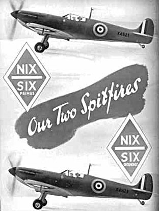 Two Spitfires bought for the RAF by F. W. Woolworth colleagues and Directors during the Battle of Britain - in official pictures from the Ministry of Aircraft Production.  This page appeared on the back of a special issue of the staff magazine.