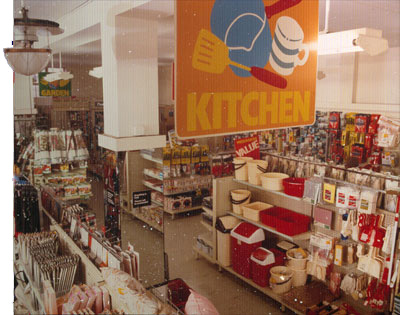 A traditional, unrefurbished Woolies store displays the new Kitchen ranges in 1987