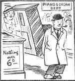 When will Woolworths start selling complete pianos for sixpence, a customer asks before World War II