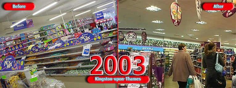 The Woolworths sweet department in Kingston-upon-Thames, Surrey, UK, before and after modernisation in 2003