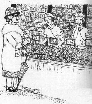 The early sweet counters were 'personal service', meaning an assistant was on hand to help customers to choose and to take their money.  The 'weigh out sweets' department was normally displayed on an island counter, standing in front of a wall display of boxed and packet confectionery.