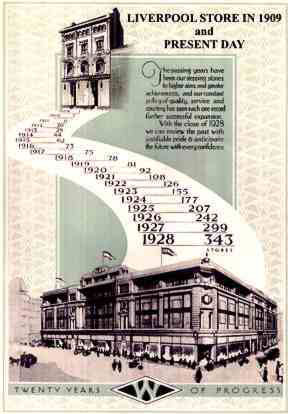 "From the book ""<W> Twenty Years of Progress 1909-1928"" which was issued as a memento for Woolworths colleagues and investors, the graphic shows the accelerating pace of growth in the 1920s.  It also shows the flagship first store before and after relocation."