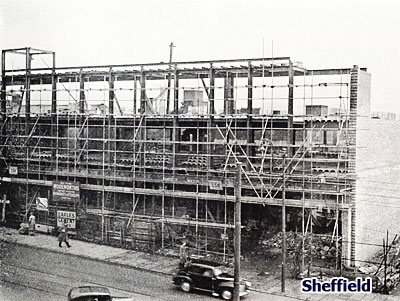 Rebuilding the F. W. Woolworth store in Haymarket, Sheffield, which was destroyed in the Blitz and finally re-opened in 1951.