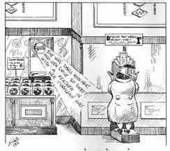 A cartoon from the Woolworth Staff Magazine 'The New Bond' pokes fun at a fat customer standing on a weighing scale next to the store's record department, which is playing the Vera Lynn hit 'it's a sin to tell a lie'