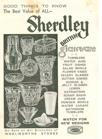 Advertisement for Sherdley Glassware, who were a major supplier of decorative and practical products to Woolworths from their earliest days in Britain until the 1960s