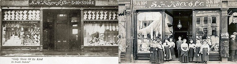 "Between 1889 and 1895 S.H. Knox took the five and ten cent formula to states that had not seen the formula before. The postcard on the left describes one branch as ""Only store of its kind in South Dakota"" (image with special thanks to Mr Scott Oakford)"