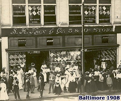 The S.H. Knox Five-and-Ten store in Baltimore, picture in 1908. The upper windows are plastered with signs promoting the Sheet Music Department, a Knox speciality