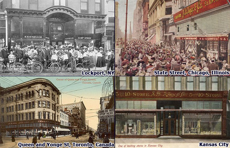 Seymour Knox was behind the selection of many of the five-and-ten buildings that later became iconic branches of F. W. Woolworth Co.  The picture shows the S.H. Knox flagships in State Street, Chicago and the corner of Queen Street and Yonge Street in Toronto, Canada