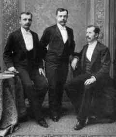 A family group at the 1890 wedding of the Woolworth brothers' cousin Seymour Horace Knox to Grace Millard. L to R: Frank Woolworth, Seymour Knox and Charles Sumner Woolworth